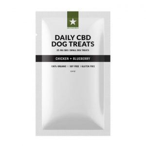 Blueberry Chicken Dog Treats contain 50mg of CBD per bag. (25) 1mg/each treats. 25mg CBD per bag