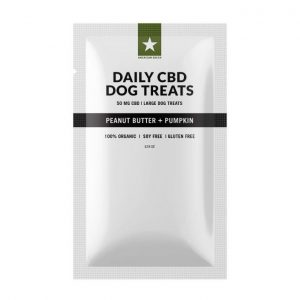 Peanut Butter Pumpkin Dog Treats contain 50mg of CBD per bag. (20) 2.5mg/each treats