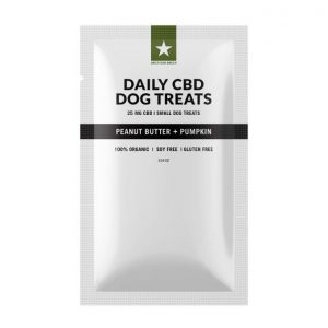 Peanut Butter Pumpkin Dog Treats contain 50mg of CBD per bag. (25) 1mg/each treats. 25mg CBD per bag