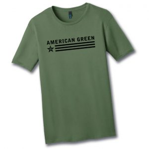 Slim-Fit American Green Tee (Black Logo)