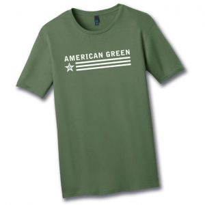 Slim-Fit American Green Tee (White Logo)
